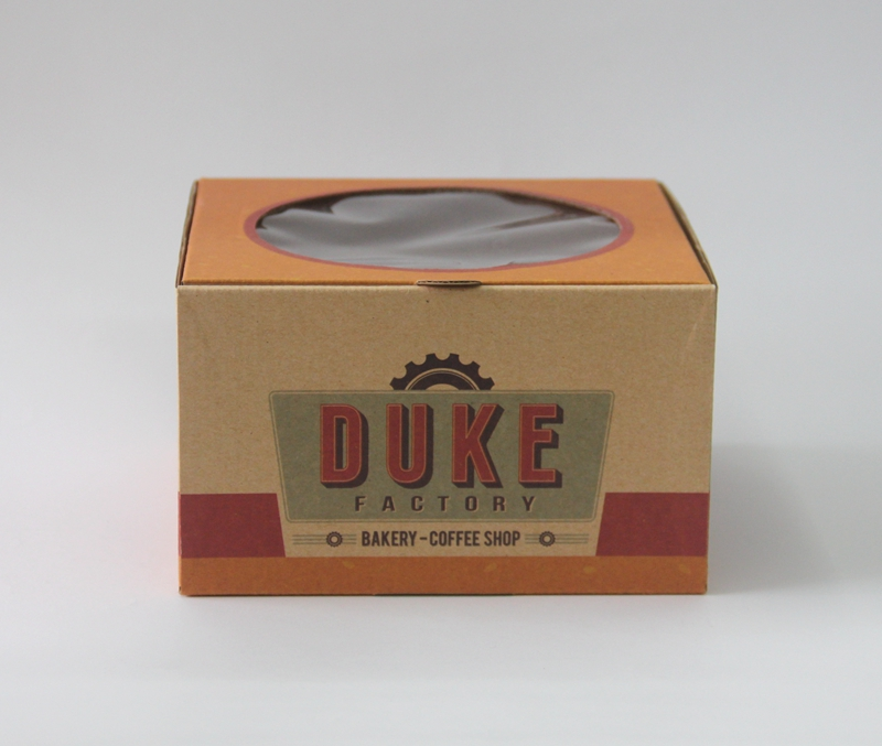 Custom Printed Brown Kraft Cake Packaging Box With Window