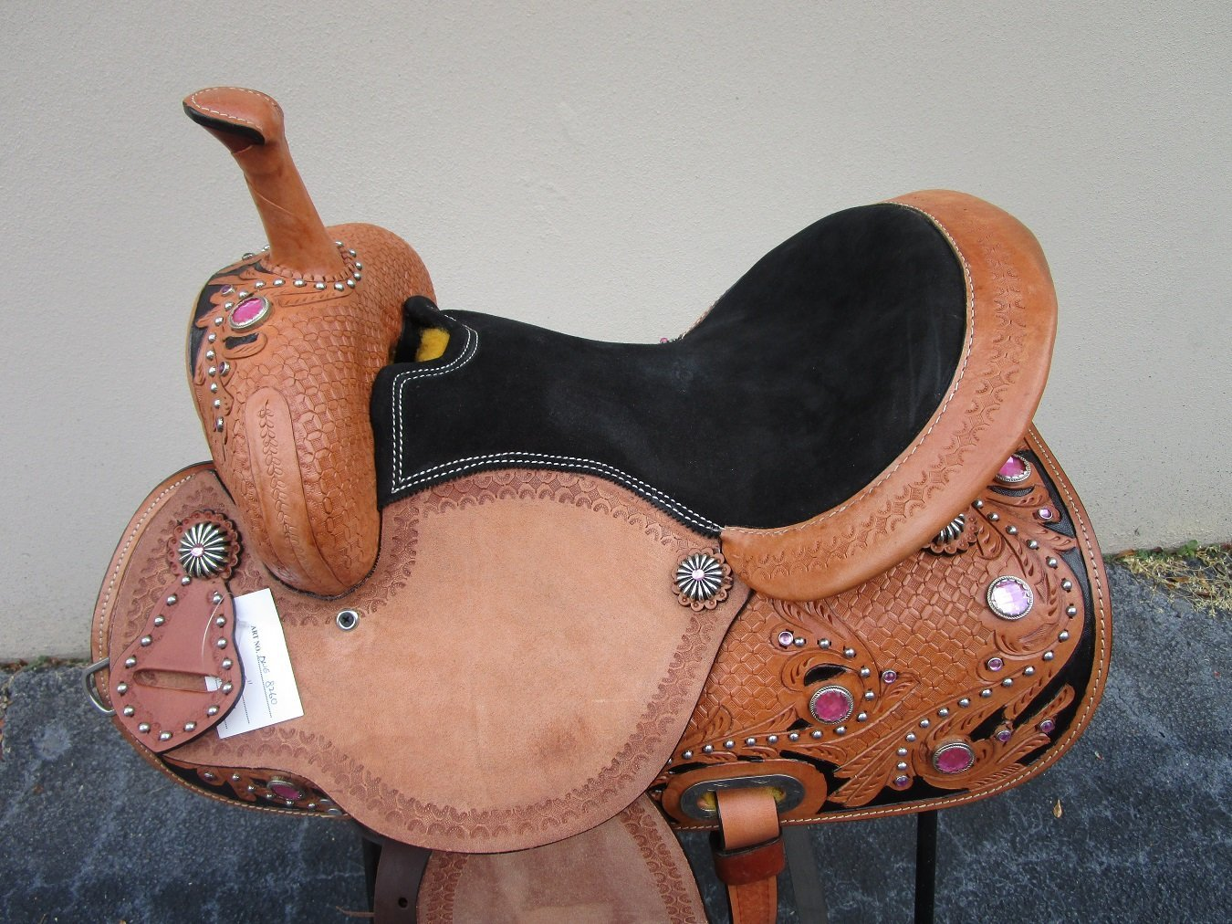 Buy Hand Carved Tooled Barrel Racing Saddle Bling 15 16 in Cheap