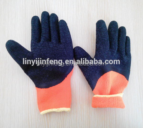 Nappy acrylic liner 3/4 natural latex coated wrinkle surface working glove , the winter glove