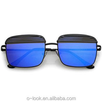 f77aa69470ca2 Braços moderno Ultra Fino Tampa de Metal Espelhado óculos de Lente Plana  óculos de Sol Quadrados