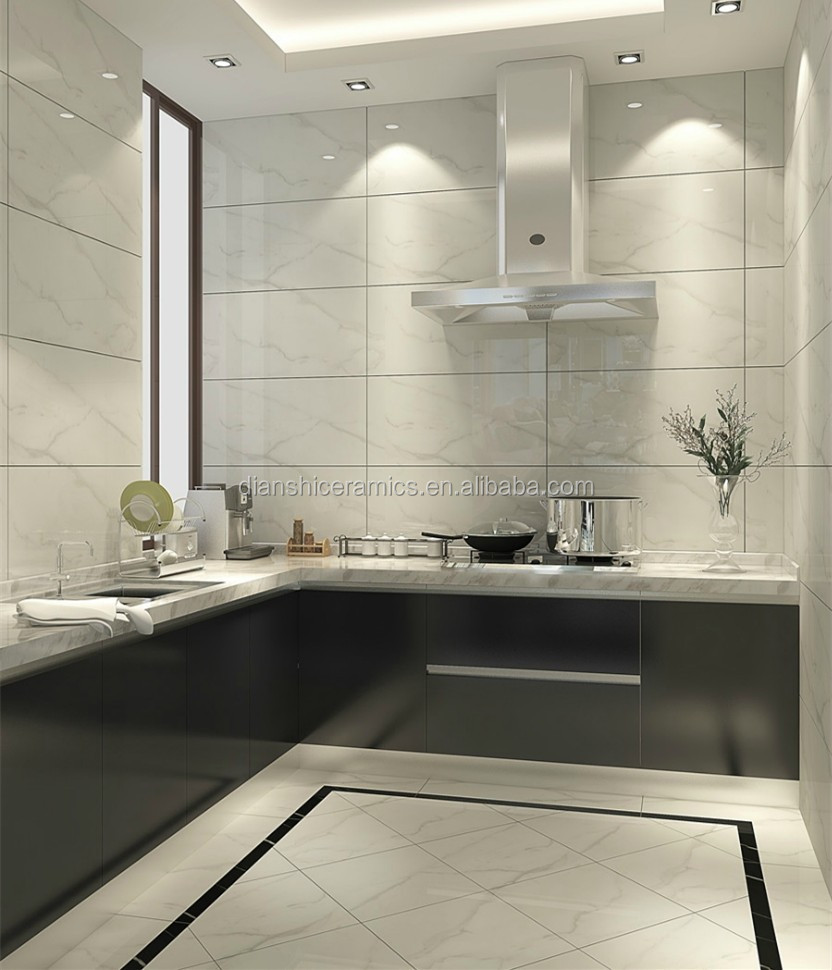 italy white glazed marble look porcelain tile with black line