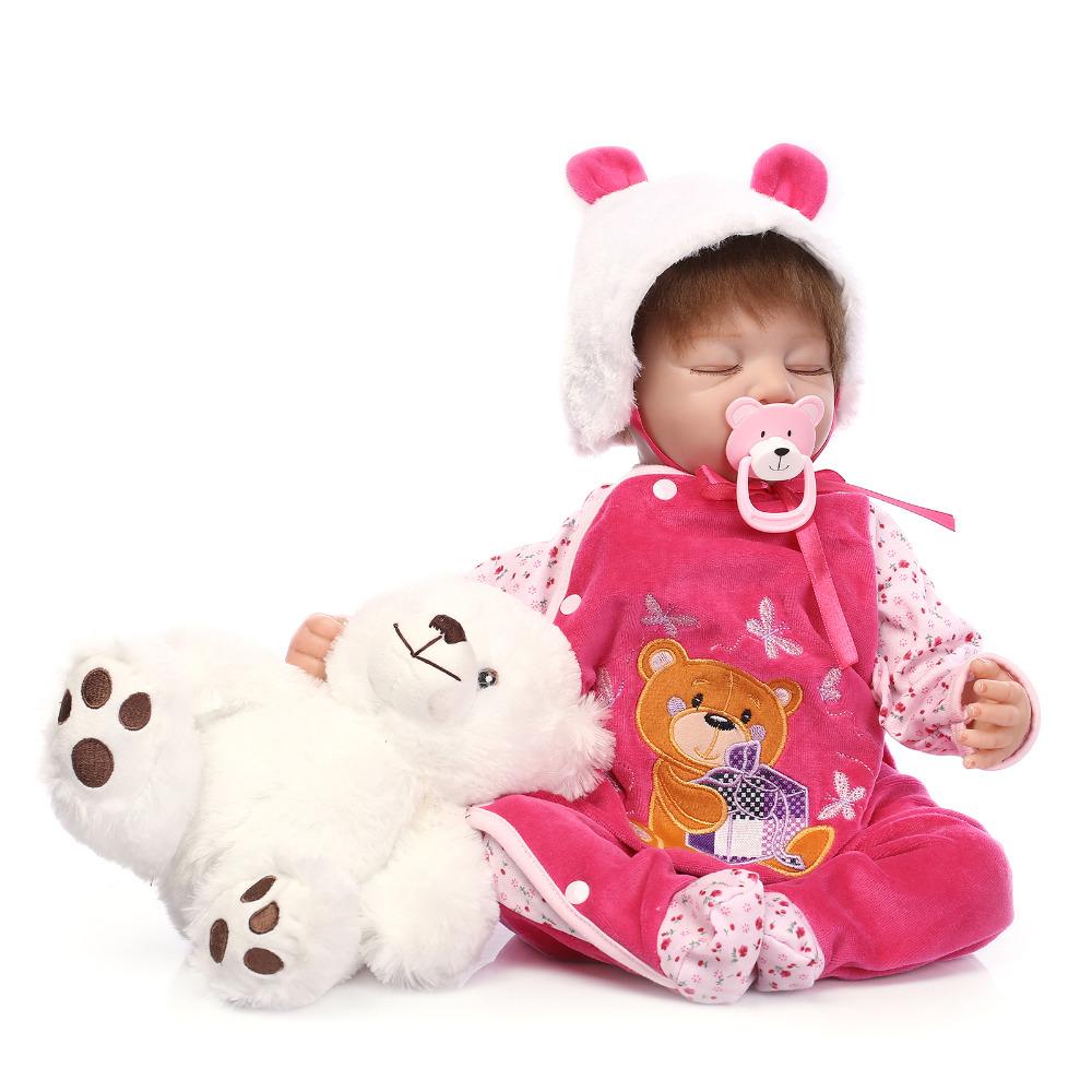 22 55 cm Silicone Vinyl Reborn Baby Doll Lifelike Sleep Newborn Baby Doll Best Christmas Gift
