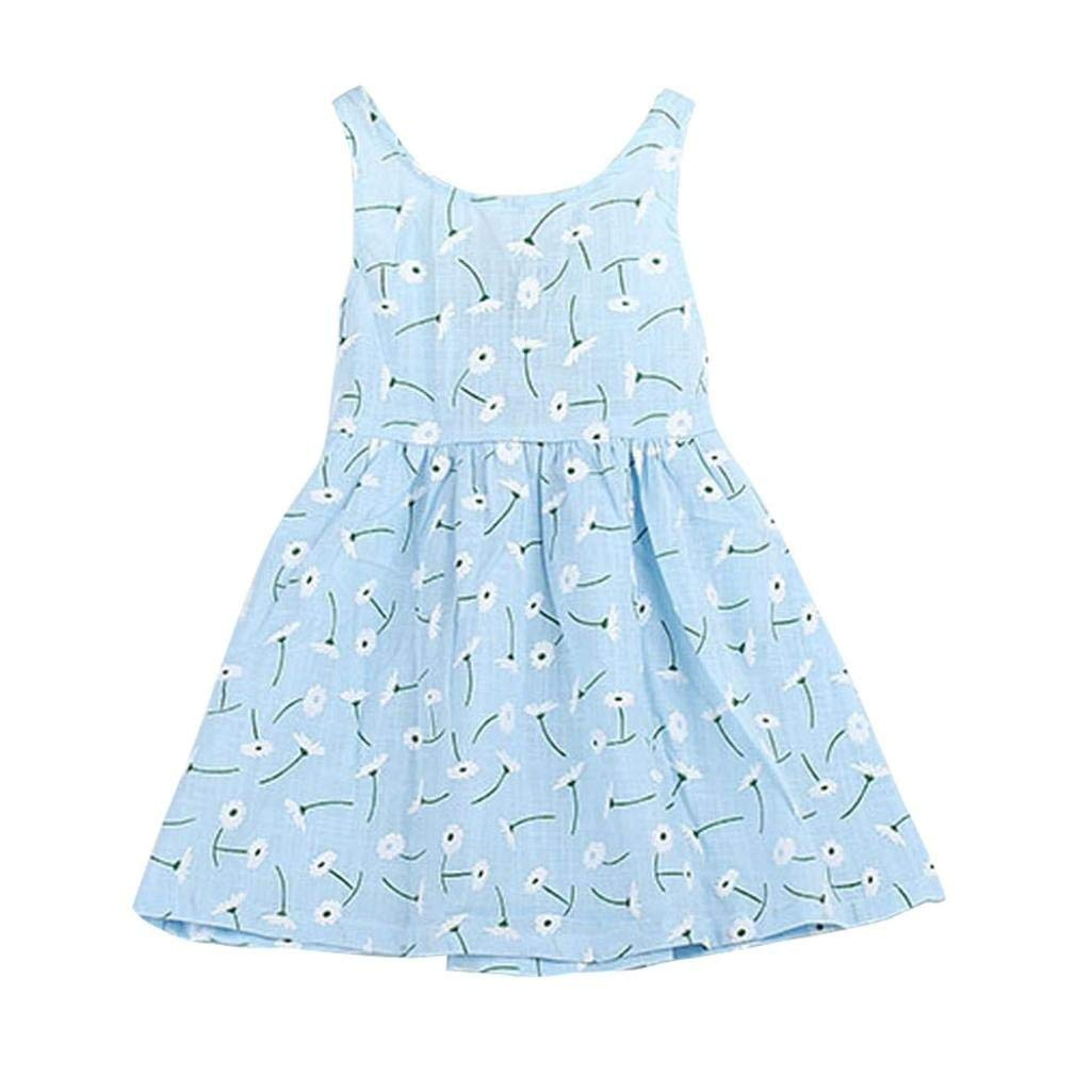 Hot Sale ! Kstare Kids Baby Girl Clothes Sleeveless Floral Bowknot Summer Princess Dresses (4-5T, Blue)
