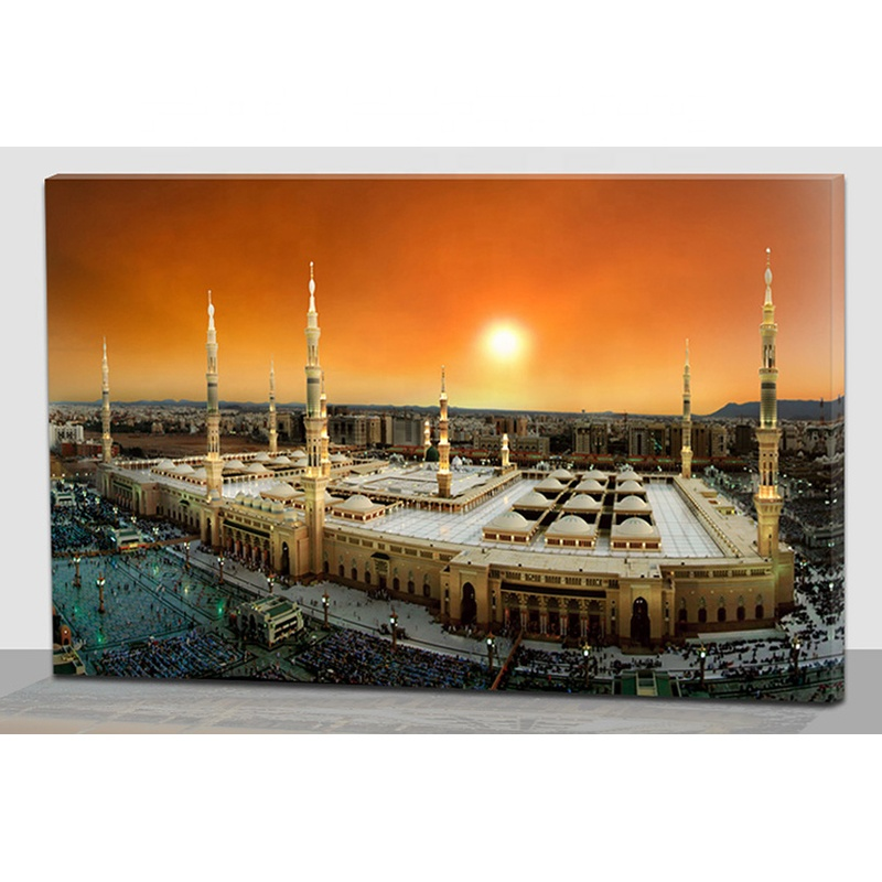 Islamic wall art painting optical fiber canvas decorations for home