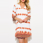 Newest Women Dresses Wholesale Red White Multicolor Abstract Ethnic Print Indian Collar Tunic Boho Mini Dress
