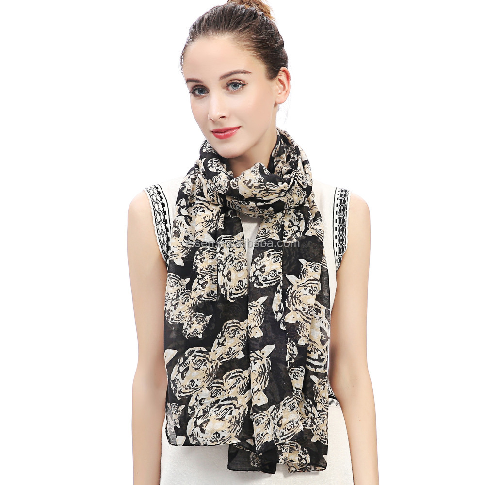 Tiger Animal Print Women Scarf Shawl Wrap Soft Lightweight