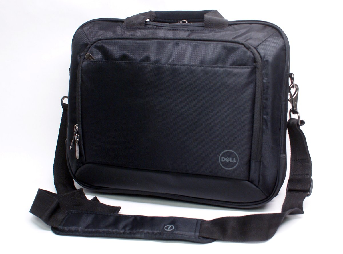 """Genuine Dell T43DV 14""""Inch Black Nylon Business Work Office Laptop Notebook Carry-Case Bag Tote Messenger Bag with Shoulder Strap Fits up to 14"""" Screens or Smaller"""