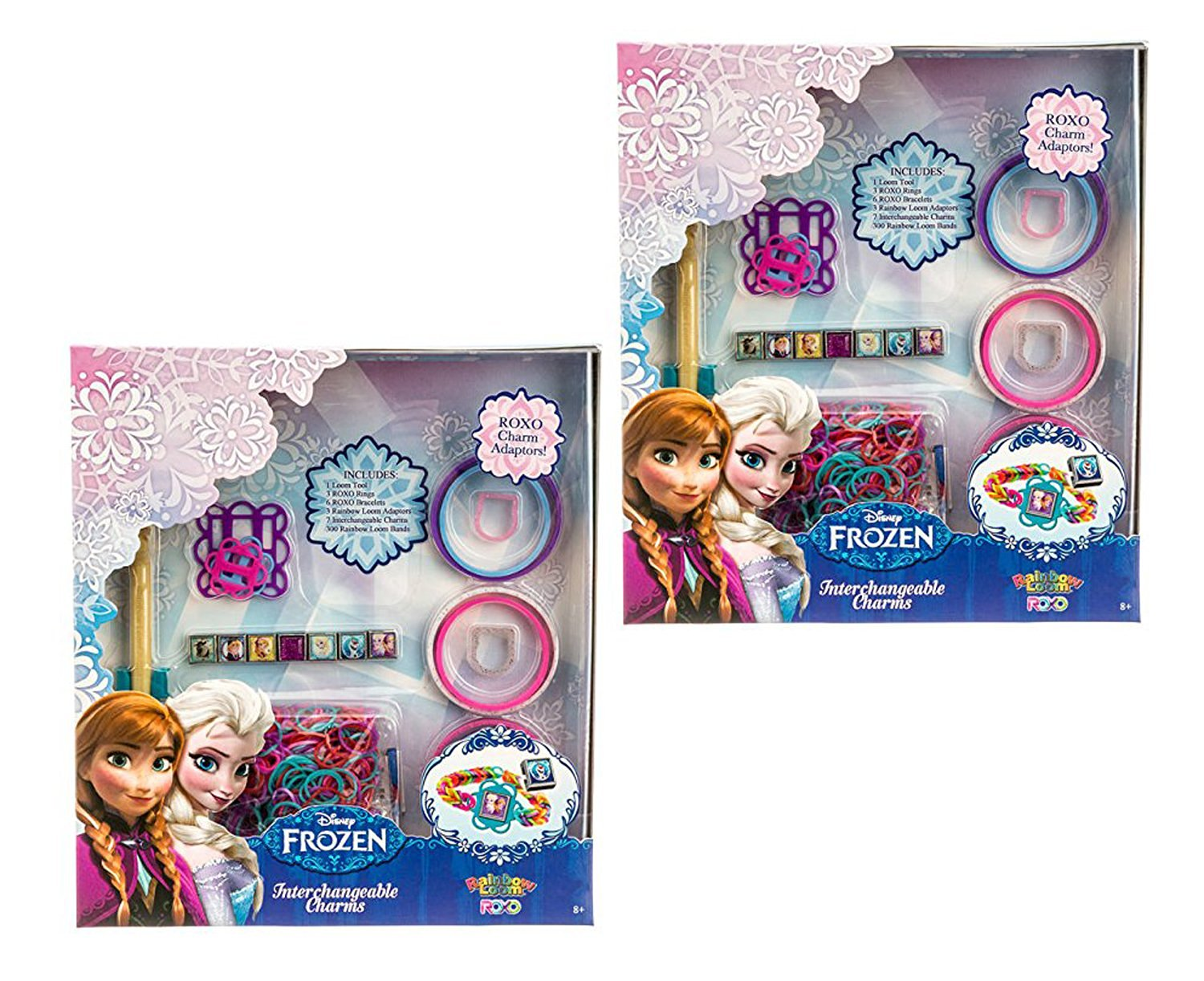 Set of 640 Disney Frozen Rainbow Loom Ultimate Bonus Pack with Rings, Bracelets and Extra Rainbow Loomer, Extra Bands and Charm Adapters.