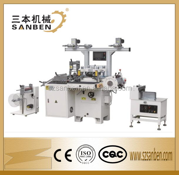 SanBen SBM-240 Automatic hot foil stamping die cutting machine with slitting, fletbed high speed die cutting machine for labels