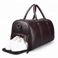 Bulk Wholesale FEGER New Design Shoes Compartment Overnight Travel Bag Business Men Leather Travel Duffle Bag