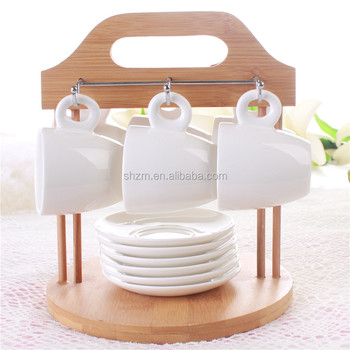 Bamboo 6 Cup Holder Coffee Mug Stand Hanger Rack