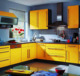 Combination pantry cabinets, shaker MDF yellow kitchen cabinets.