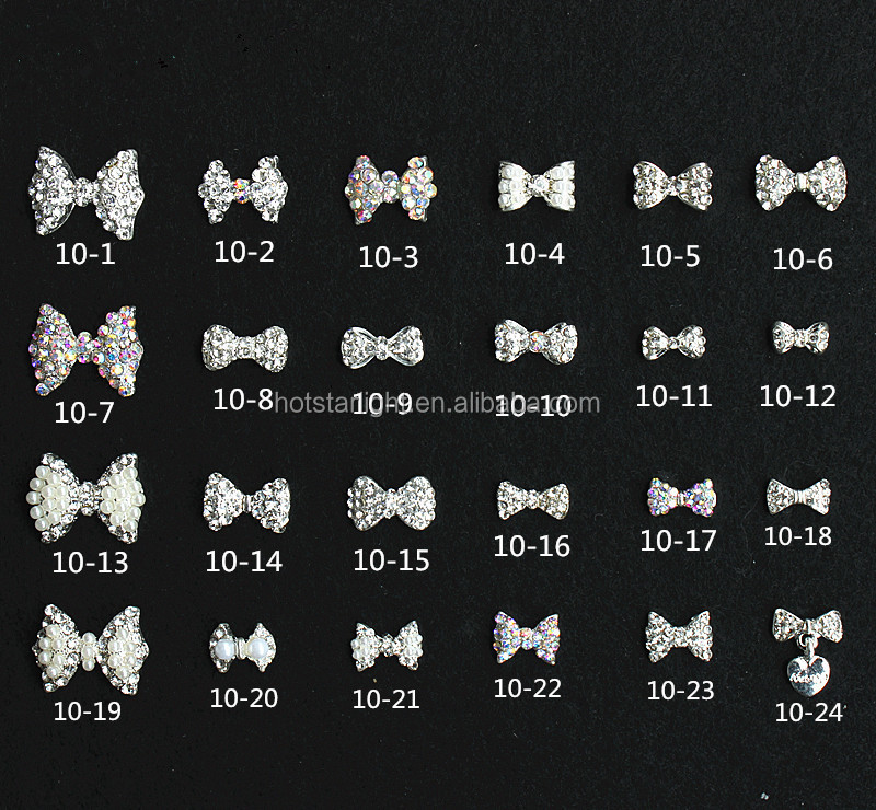 full designs czech stone wtih pearl bow-tie nail sticker