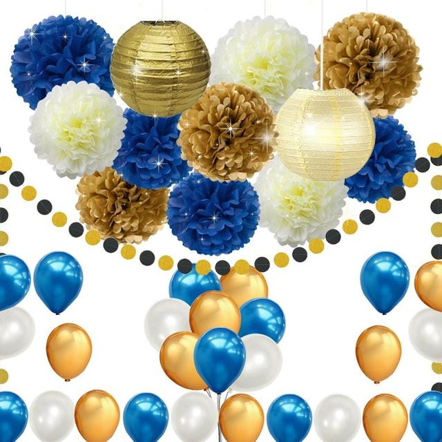Buy cheap china wedding decoration gold products find china wedding 45pcs diy navy blue gold party decorations supplies blue birthday baby shower pary decorwedding junglespirit Images