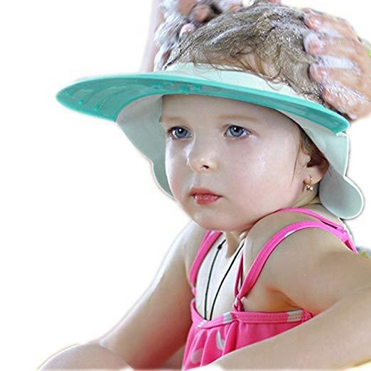 767ea9bb Seguro de ducha de champú baño protección baño tapa suave visera ajustable  sombrero para niño bebé