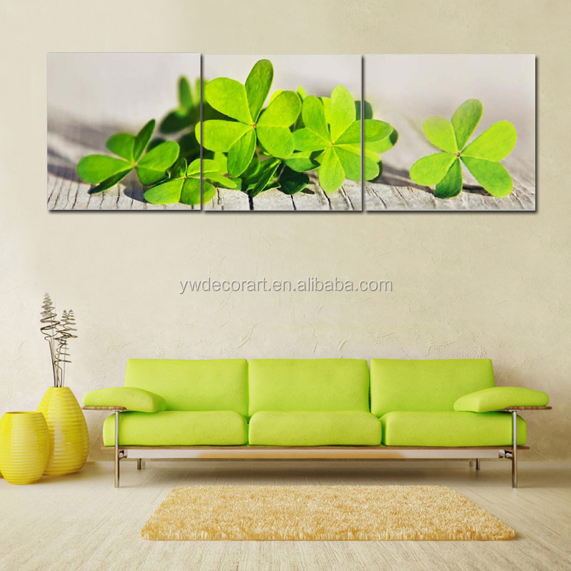 Green Leaves Print Canvas Painting 3 Parts on Canvas
