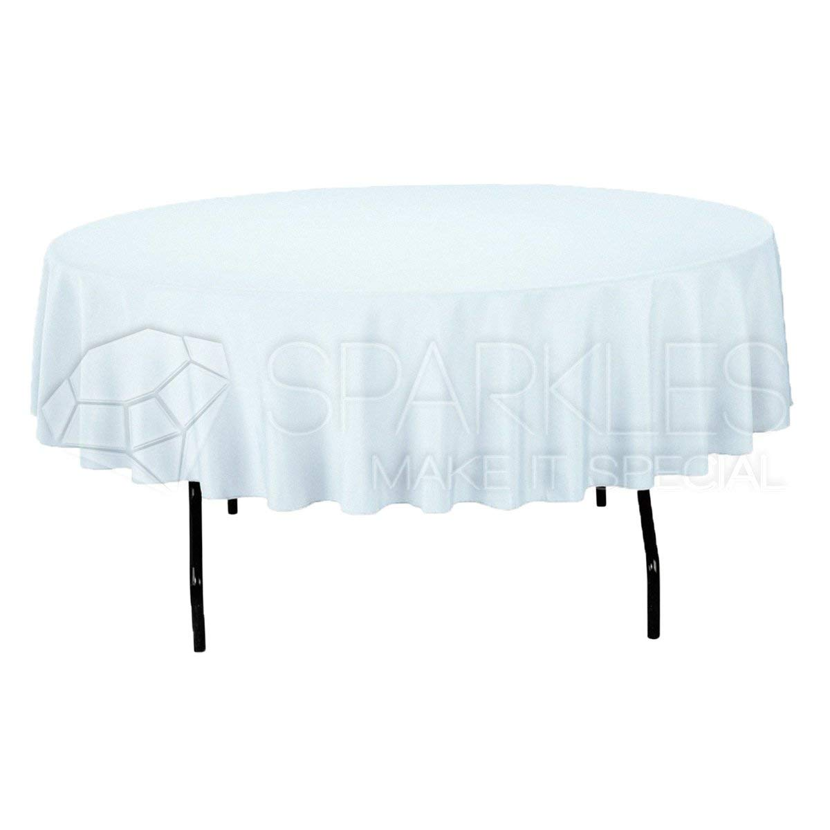 "Sparkles Make It Special 10-pcs 90"" Inch Round Polyester Cloth Fabric Linen Tablecloth - Wedding Reception Restaurant Banquet Party - Machine Washable - White"