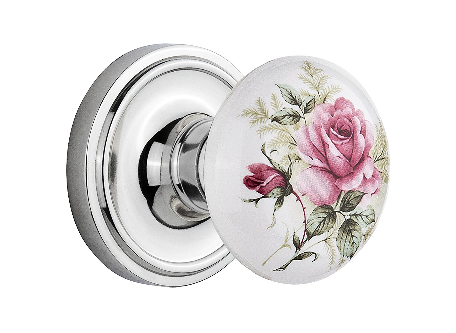 Nostalgic Warehouse Classic Rosette with Rose Porcelain Door Knob, Double Dummy, Bright Chrome