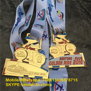 Gold color with enamels Customize MTB Sports Medals With Ribbons anti silver color