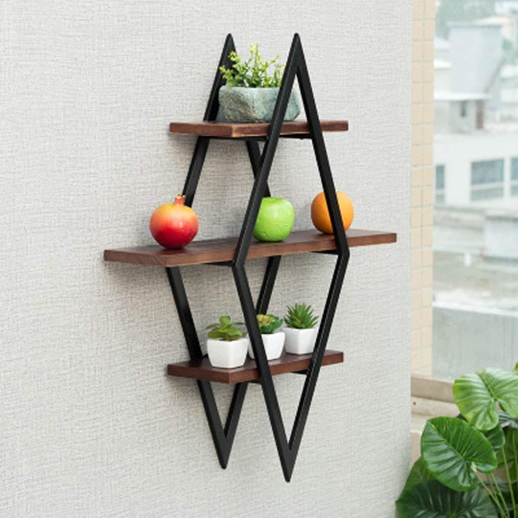 HCJZWJ JCRNJSB Shelf, Nordic Solid Wood Wall Hanging Wrought Iron Wall Word Shelf Flower Shelf Wall Shelf Shelf Wall Shelf 7065cm Can be stored removable Shelf Shelf Book shelf (Color : #1)