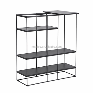 New Small Black MDF Wood Solid Steel Metal Bookcase