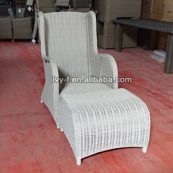 White Resin Wicker Dining Chairs High Back Wicker Rattan Chairs Resort  Outdoor Furniture