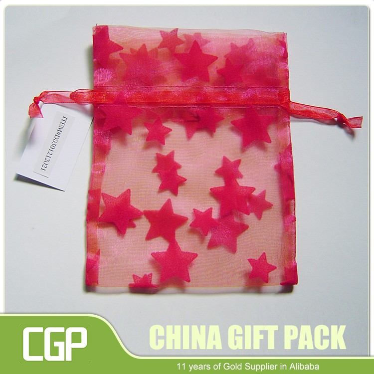 Colorful Organza Drawstring Gift Bag With Flower Printing For Wedding