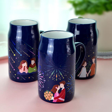 hot water heat sensitive coating ceramic color changing magic couple mug