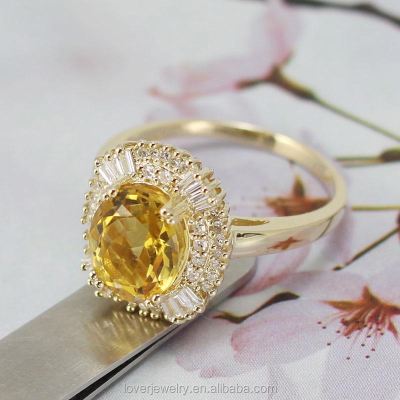 Big Oval 9x11mm 14kt Yellow Gold Diamond Yellow Citrine