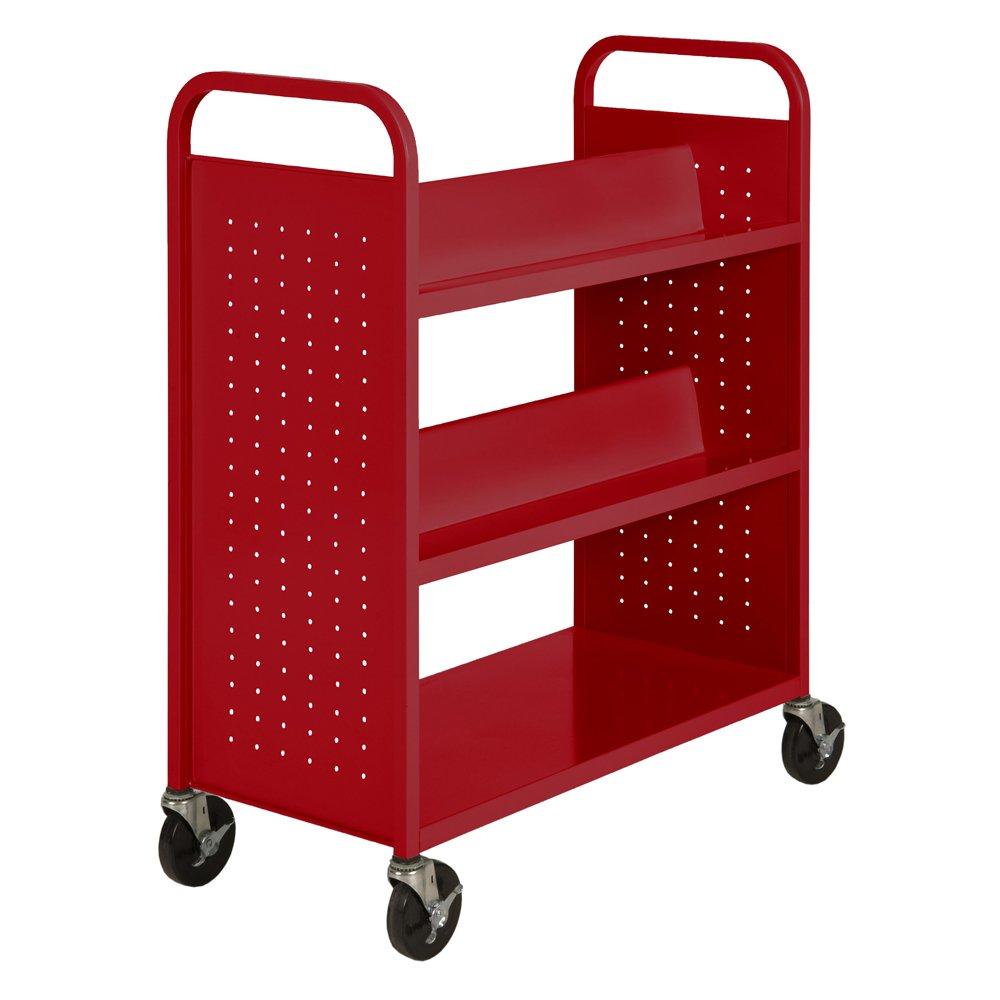"Sandusky Lee SVF336-01 Red Heavy-Duty Welded Steel Combination Shelf/Book Truck with 4 Sloped Upper Shelves and 1 Flat Bottom Shelf, 46"" Height x 39"" Width x 19"" Depth"