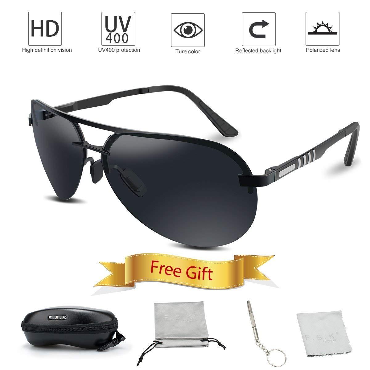 cb382ca1c37c Get Quotations · FSK Sunglasses for Men Aviator Driving Polarized Sunglasses  Al-Mg Metal Frame Ultra Light