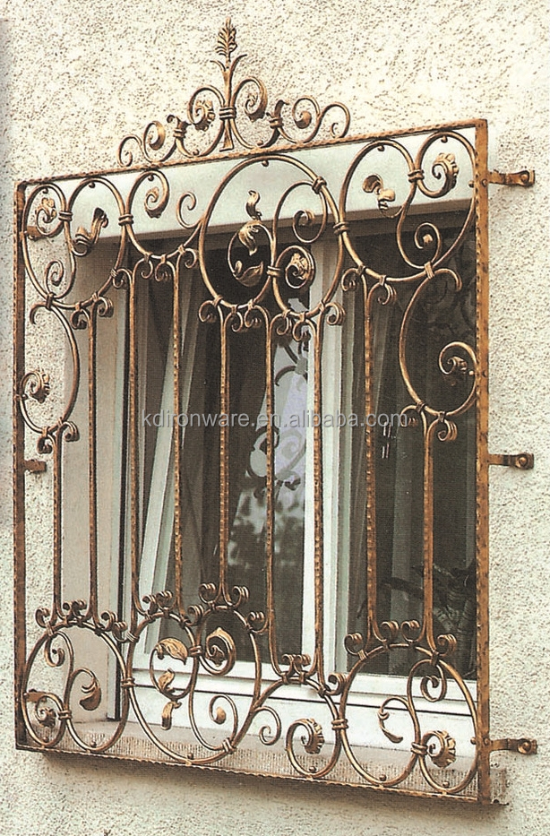 Decorative Metal Flowers Wrought Iron Window Grill Design