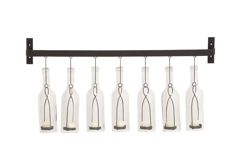 Benzara Amazing Styled Metal Glass Wall Votive Holder