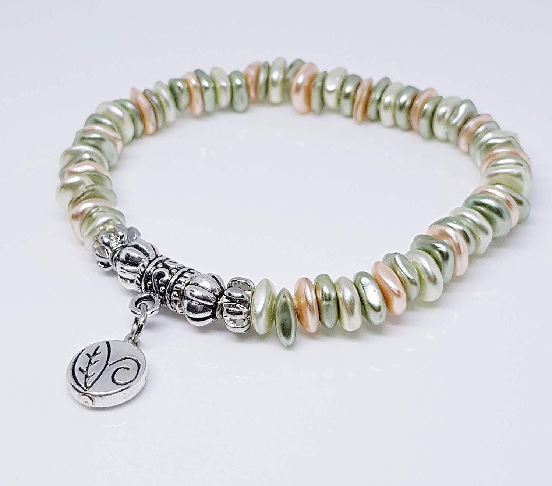 Light Tan Sage White Chips/Silver Plated Lantern Beads/Silver Metal Tube Drop Bead/Antique Silver Leaf Disc Metal Bead Charm Bracelet