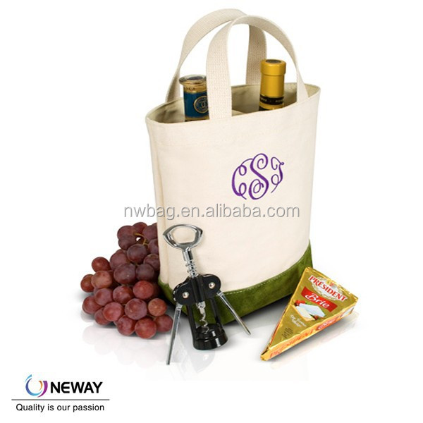 Reusable Double Canvas Wine Tote,Wine Gift bag