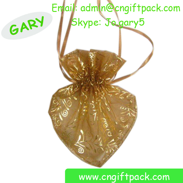 Wholesale Drawstring Rose Printed Organza Small Packaging Crystal Ring Bag