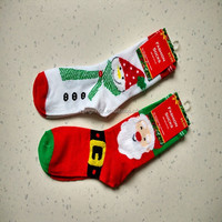 snowman and santa old man christmas festival sock