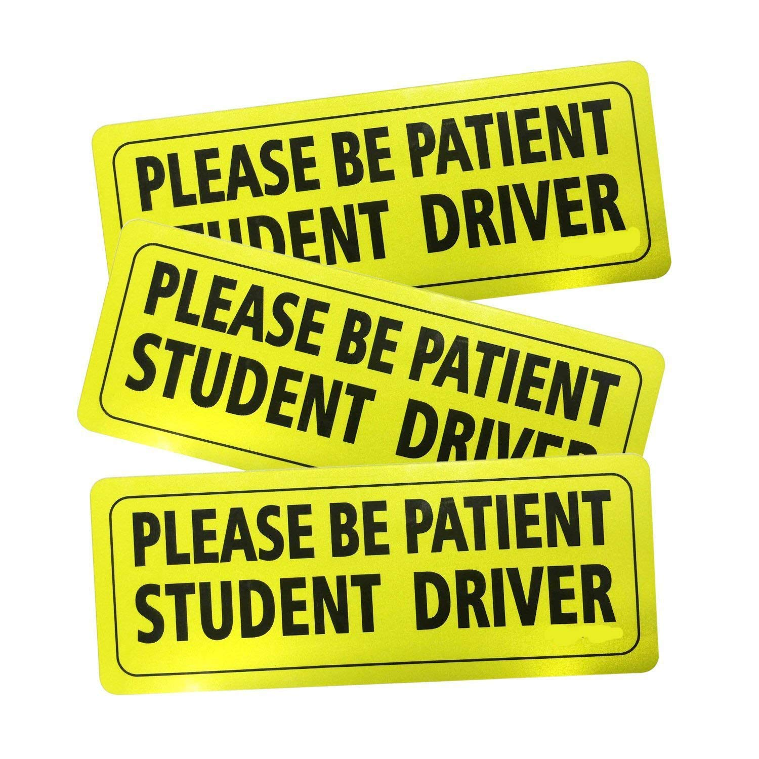 """3 Pcs Safety Sign Vehicle Bumper Magnet Student Driver Magnet""""Please Be Patient Student Driver"""" Reflective Vehicle Car Sign Sticker Bumper For New Drivers"""