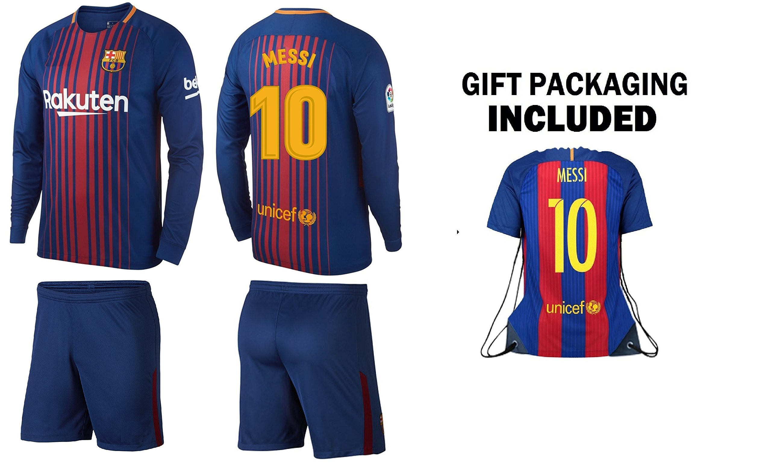 aa4b2548e7e Get Quotations · Messi  10 Barcelona jersey Youth 3 in 1 Soccer Gift Set for  kids ✓ Long