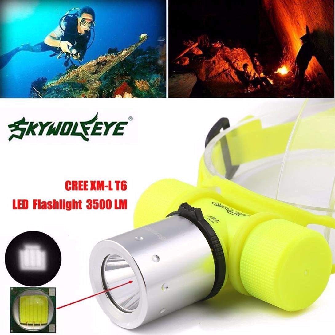 Diving Flashlight ,Hmlai@ 3500Lm CREE T6 LED Waterproof Underwater Diving Head light Lamp Flashlight Torch(9.5 x 7.0 x 3.5cm)