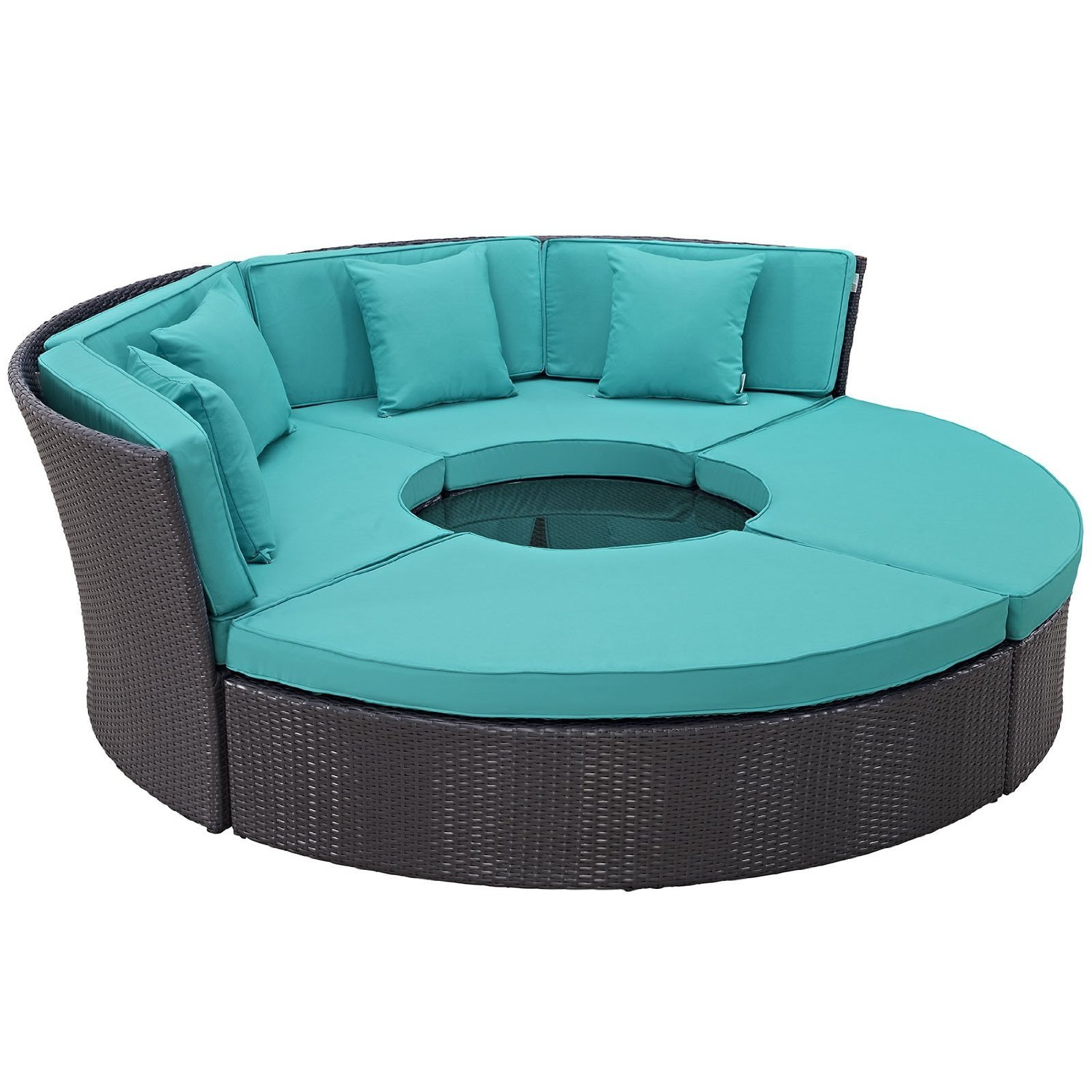 Modway Convene Wicker Rattan Outdoor Patio Sectional Daybed in Espresso Turquoise