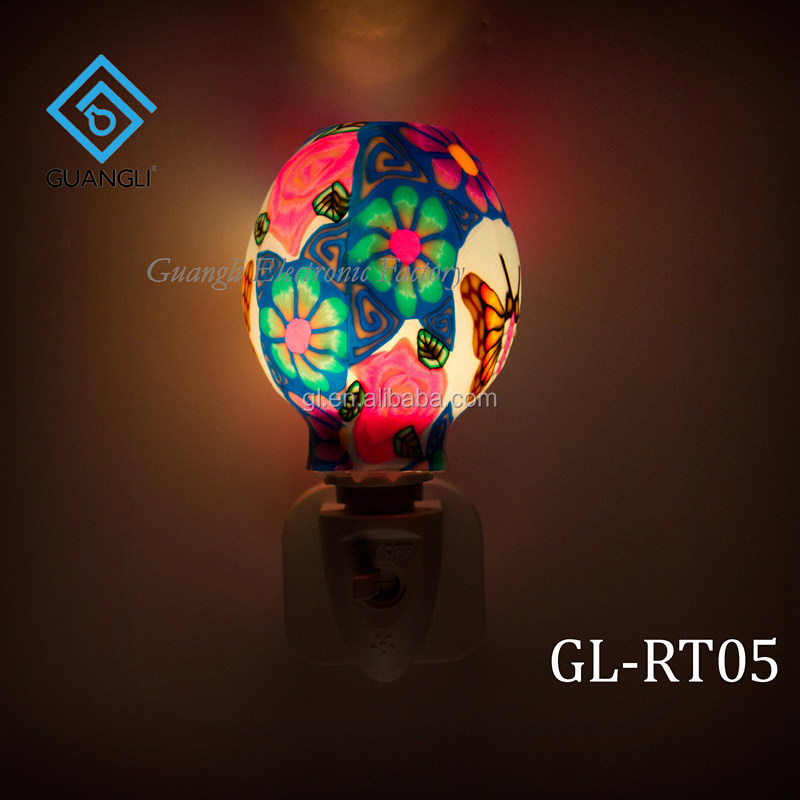 ETL  CE SAA CB BS indoor decoration Aroma Essential Oil soft Art glass butterfly flowers design night light 110v 220v 7w