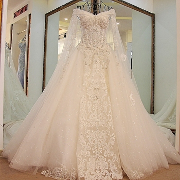 LS45880 2017 Long Sleeves Taobao Organza Alibaba Modest Wedding Gowns Cathedral Train Ball