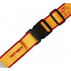 """Luggage Strap Yellow-Red Color. Piggyback. 83"""" Long, Strong Lock, Durable Materials."""