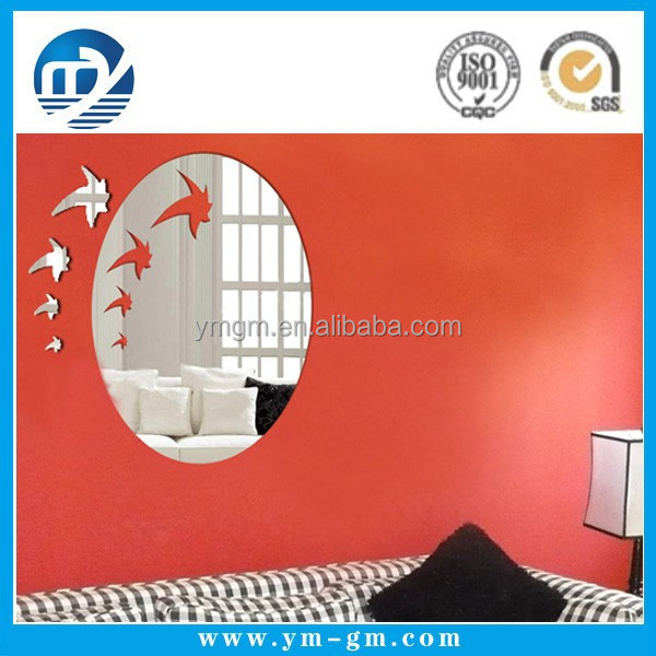 Self adhesive wall round mirror decoration stickers