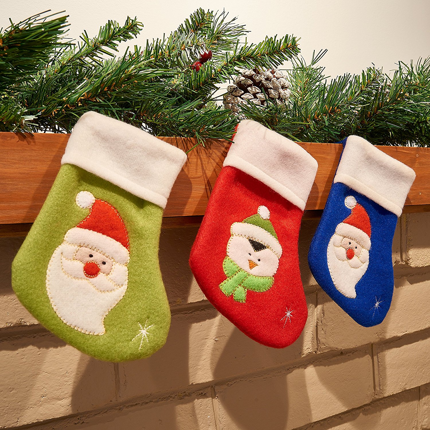 get quotations prextex small christmas stockings with cute christmas characters 8 piece set great christmas decoration