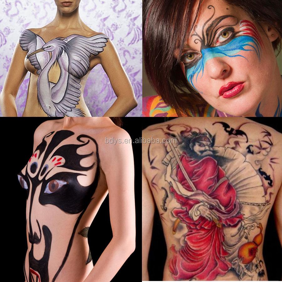 nude-girl-face-paint-skull-blowjob