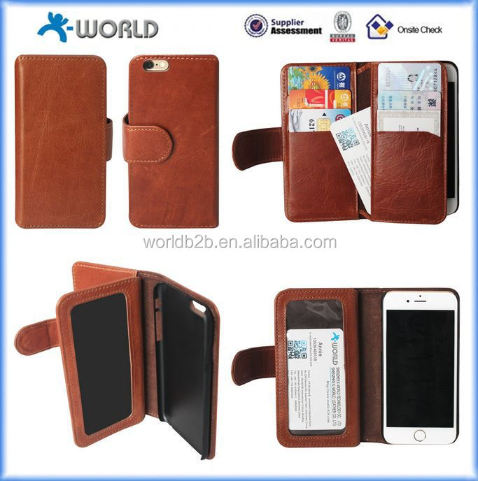 OEM shenzhen wallet leather case for iphone 6s with name card pocket