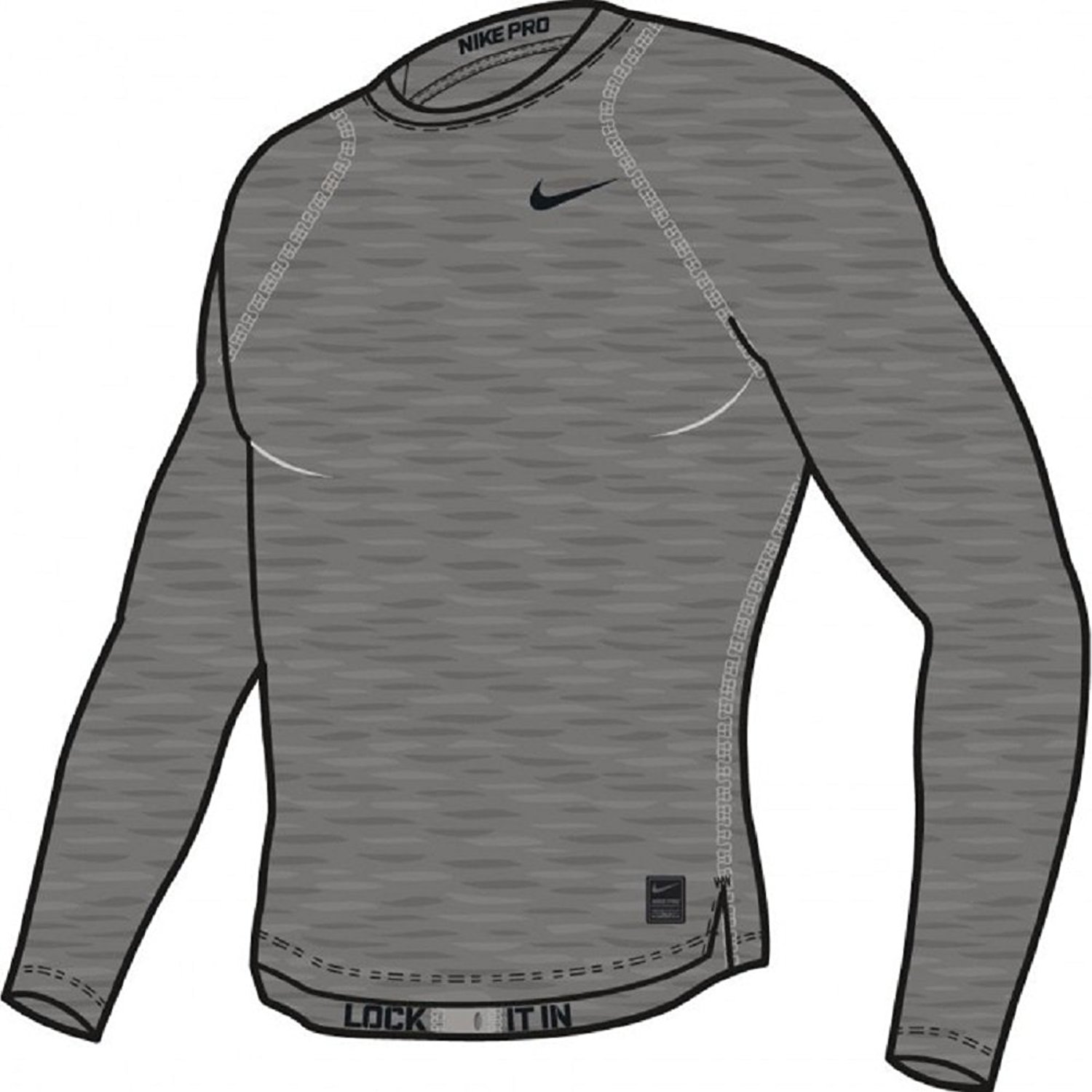 2fd57090 Get Quotations · Nike Pro Cool Compression Men's Long Sleeve Shirt (Carbon  Heather) (XL)
