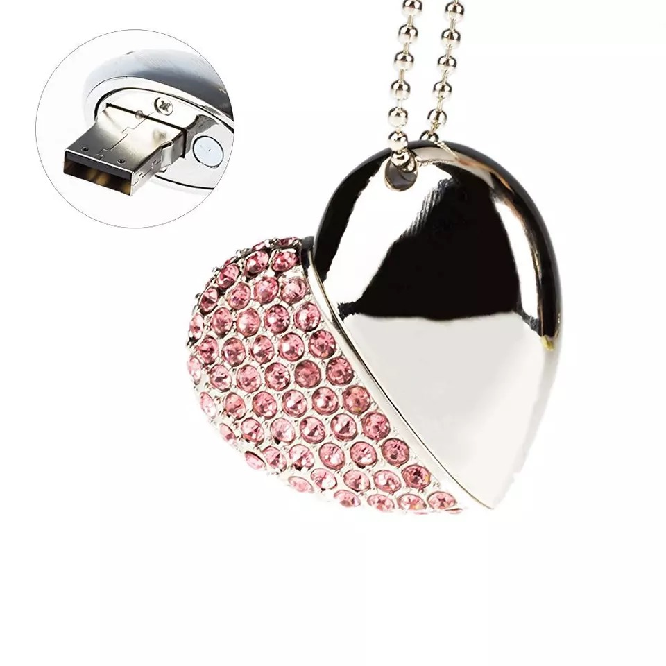 Jewelry Crystal Heart Shape 4Gb 64Gb Metal Usb Flash Drive Anti Dust Stylus Pendant 16Gb Memory Stick Custom Gift Pendrive 32Gb - USBSKY | USBSKY.NET